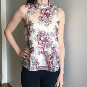 White floral Anthropologie blouse